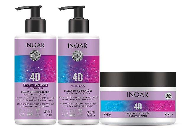 Kit Inoar 4D - Shampoo + Condicionador + Máscara