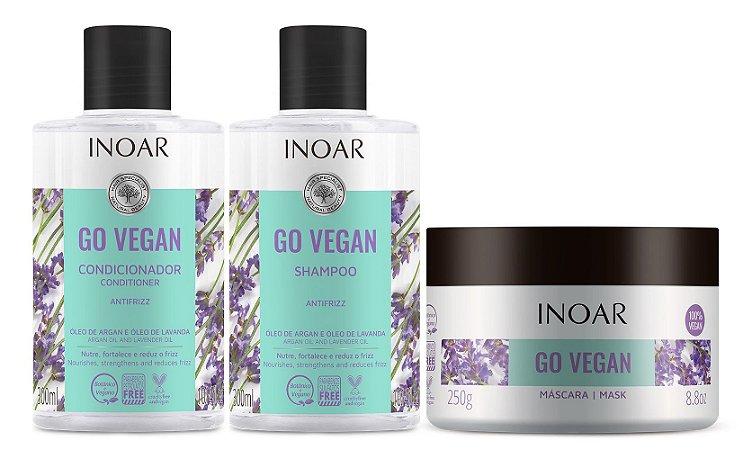 Kit Inoar Go Vegan Antifrizz - Shampoo + Condicionador + Máscara