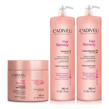 Kit Cadiveu Hair Remedy Professional - Shampoo + Condicionador + Máscara