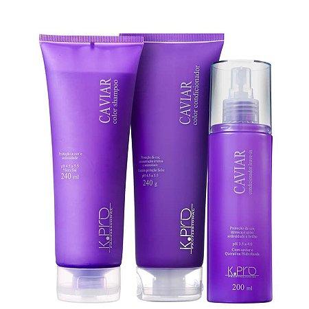 Kit K.Pro Caviar Cabelos Finos - Shampoo + Condicionador + Leave-in