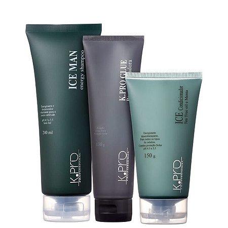 Kit K.Pro Ice Man Style Glue - Shampoo + Condicionador + Pomada