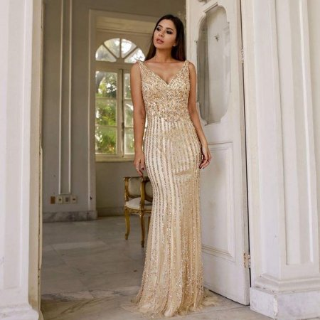 vestido longo nude dourado
