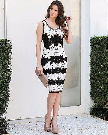 Vestido Curto Renda Preto E Branco