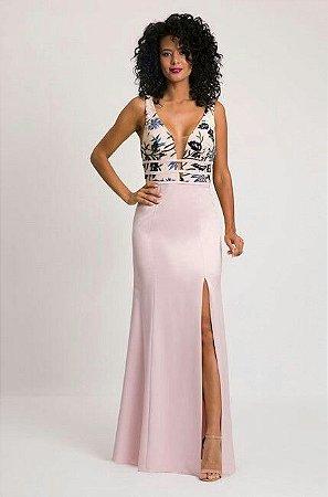 vestido longo mesclado
