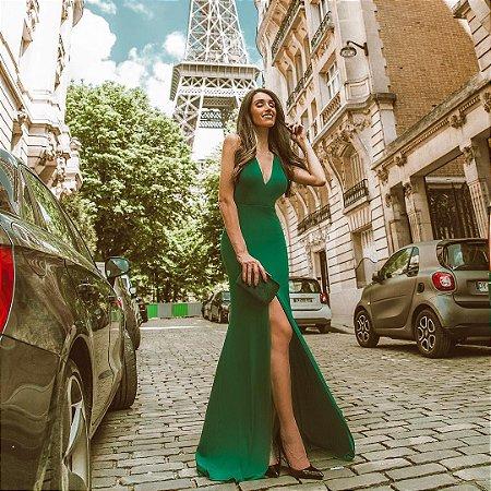 vestido longo verde paris