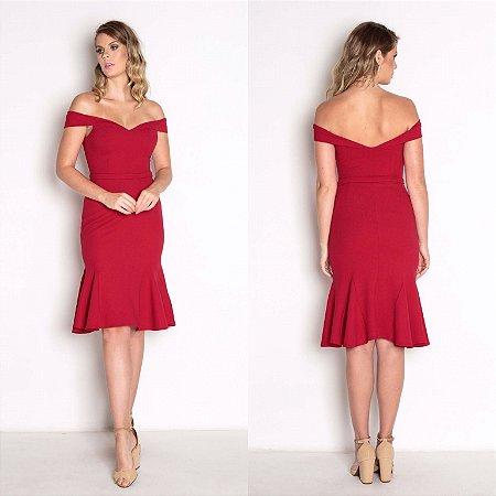 vestido curto vermelho barra de babado
