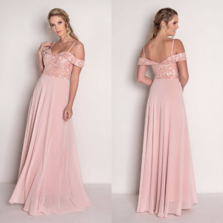 76b3c194da vestido longo rosé saia rodada - Tons