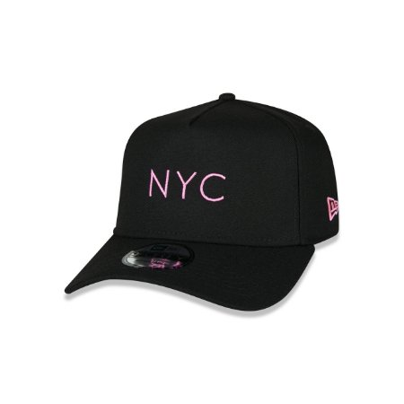 Boné New Era 940 New York City Logo Pink Aba curva - Preto