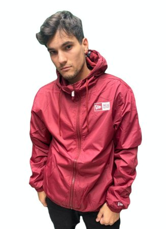 Jaqueta Corta vento New Era Windbreaker Basic Logo Box - Vermelha