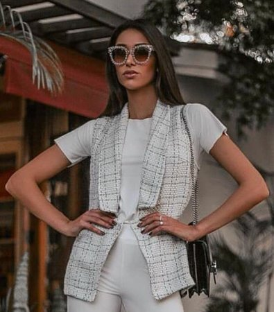 0cb15c0db9 Colete xadrez branco e preto em tecido tweed - Looks da Milena para ...