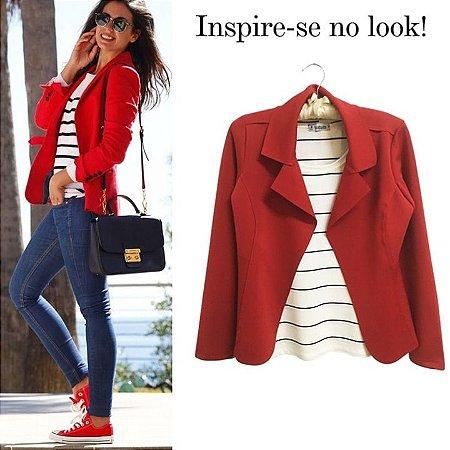 a65cd552a7 Blazer feminino em neoprene vermelho - Looks da Milena para arrasar ...