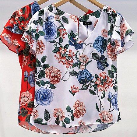Blusa Floral Manga Camadas