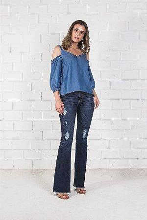 Jeans Boot Barra Desfiada