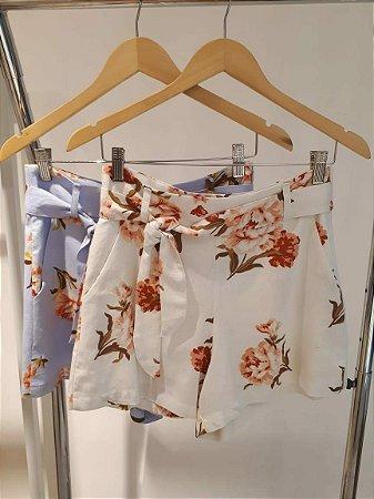 Shorts Floral Linho