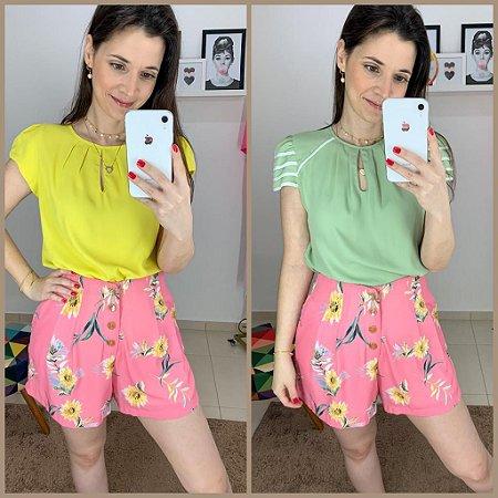 Shorts Floral com Botões - cores