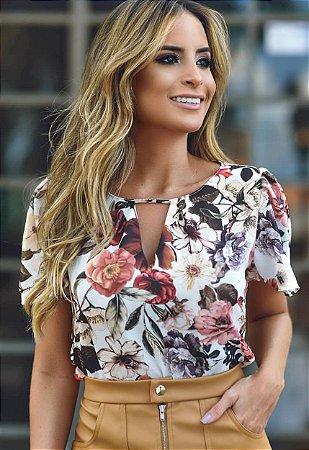 Blusa Floral Pregas