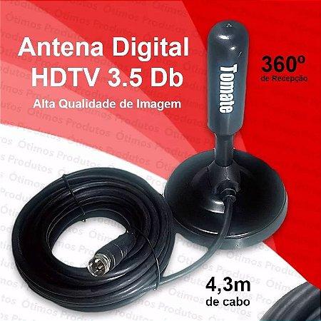 Antena Interna externa TV digital HDTV 3.5 DB Cabo C/4.3 M