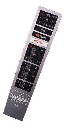 Controle Remoto Para Smart TV AOC 32S529578G / 43S529578G / 50U629578G / 55U629578G / NETFLIX YouTube
