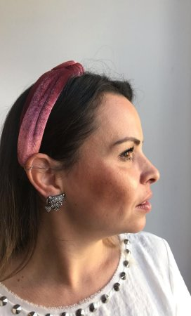 Tiara Turbante Nó Veludo Alemão Rose