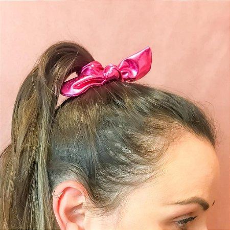 Laço de Cabelo Scrunchie Metalizado Pink