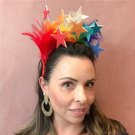 Tiara de Carnaval de Penas com Estrelas Coloridas