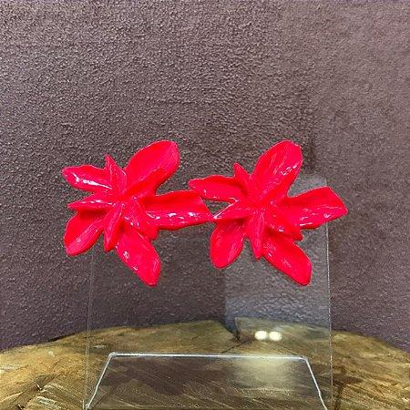 Brinco Orquidea Resina Cor Rosa Neon Camila Vanni