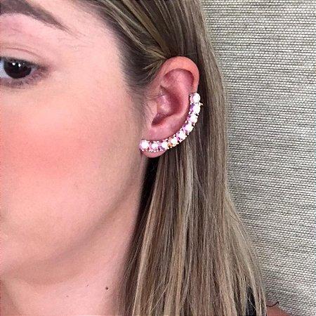 Brinco Ear Cuff Dourado com Pressão e Strass Frutacor Camila Vanni