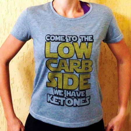 Camisa Come to The Low Carb Side - Baby Look Cinza