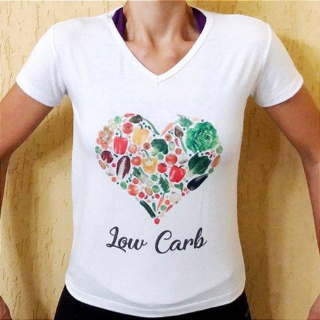 Camisa Coração Low Carb - Baby Look Gola V Branca