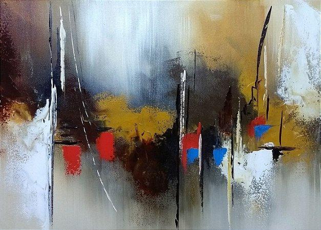 f3f309f6e Pintura Quadro  Tela Abstrata em tons de sepia e ocre com vermelho e azul