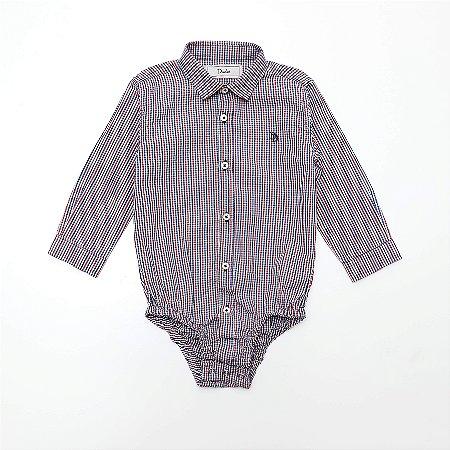 Camisa Body Baby Xadrez - Dudes