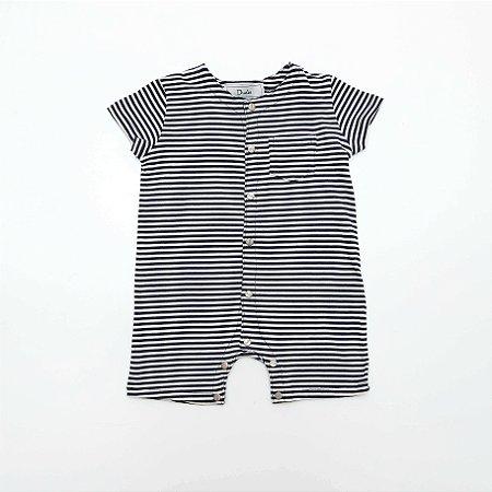 Body Infantil Listrado Azul e Branco - Dudes