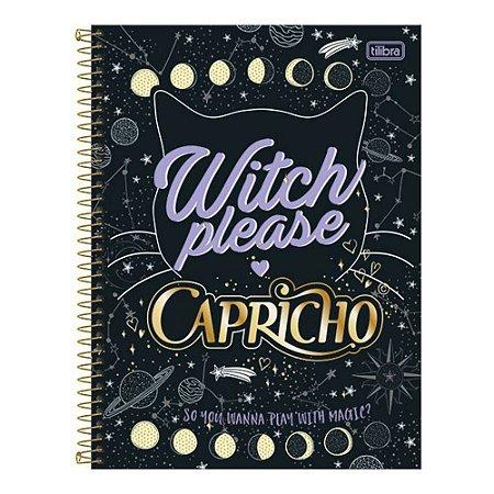 Caderno Espiral Capa Dura Universitário 1 Matéria Capricho WITCH PLEASE - 96 Folhas