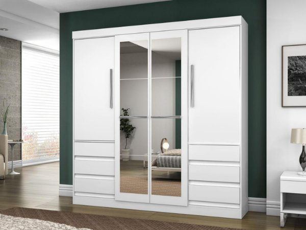 Roupeiro / Guarda-Roupa com espelho, 4 Portas e 6 Gavetas