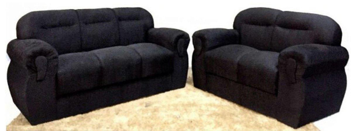 Conjunto de sofá 2 e 3 lugares tecido suede