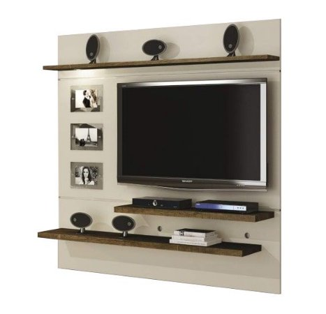 Home Suspenso Interativo para TV até 60 Polegadas Off white c/ ipê - Valdemóveis