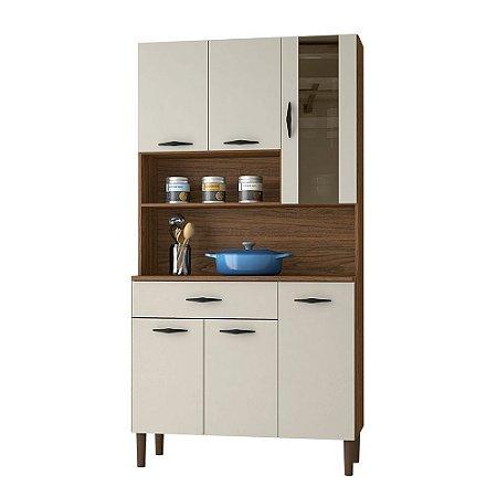 Armário de Cozinha Kit Golden 6 Portas Nogueira/Off White - Kits Parana
