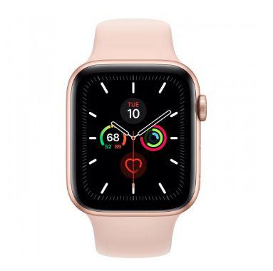 Watch Series 5 44mm Caixa Dourada de Alumínio com Pulseira Rosa Esportiva: Modelo GPS - Pré-venda