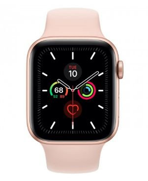 Watch Series 5 44mm Caixa Dourado de Alumínio com Pulseira Rosa Esportiva: Cellular - Pré-venda
