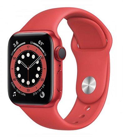 Watch Series 6 44mm Caixa Vermelha de Alumínio com Pulseira Vermelha Esportiva: Modelo Cellular