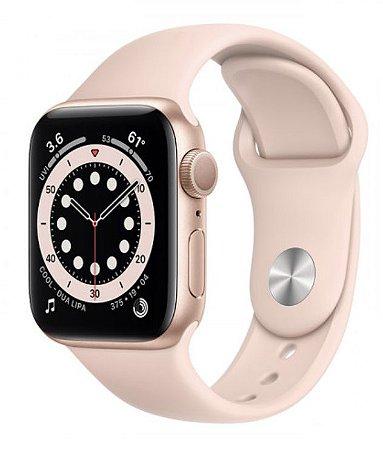 Watch Series 6 44mm Caixa Dourada de Alumínio com Pulseira Areia-Rosa Esportiva: Modelo GPS
