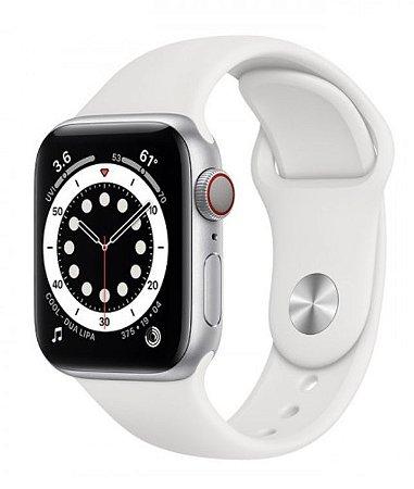 Watch Series 6 40mm Caixa Prateada de Alumínio com Pulseira Branca Esportiva: Modelo Cellular