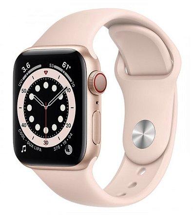 Watch Series 6 40mm Caixa Dourada de Alumínio com Pulseira Areia-Rosa Esportiva: Modelo Cellular