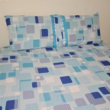 Jogo de Cama King 3 peças Malha 100% Algodão - Quadriculado azul