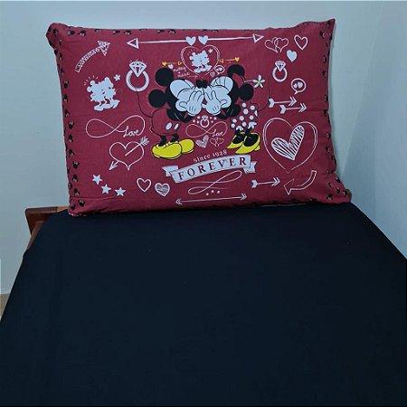 Jogo de Cama Solteiro 2 peças Malha 100% Algodão - Black Minnie Mickey