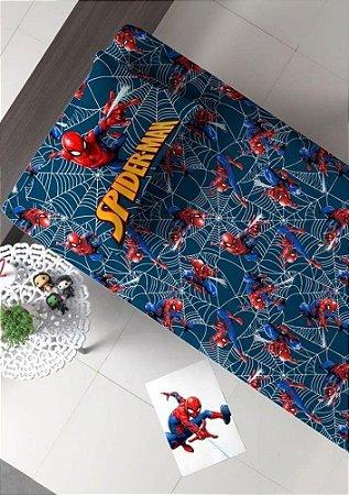 Jogo de Cama Solteiro 2 peças Malha 100% Algodão - Homem Aranha