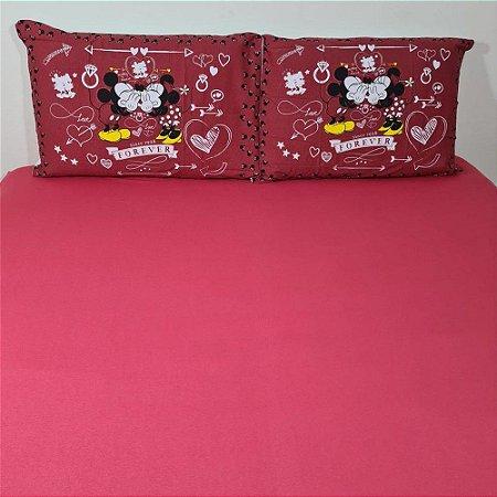 Jogo de Cama Queen 3 peças Malha 100% Algodão - Red Mickey