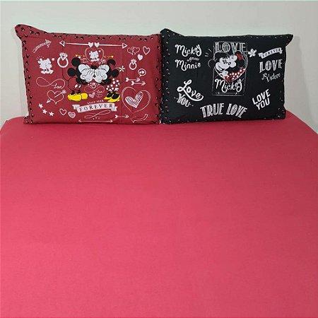 Jogo de Cama Casal 3 peças Malha 100% Algodão - Red Mickey Minnie