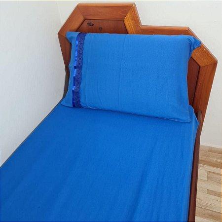 Jogo de Cama Solteiro 2 peças Malha 100% Algodão - Azul Royal