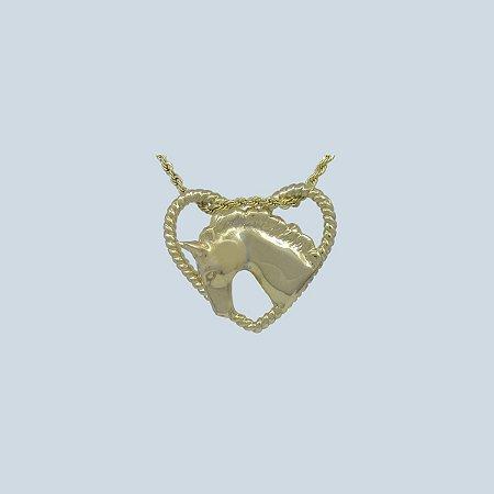 Colar Cabeça de Cavalo 3D Coração